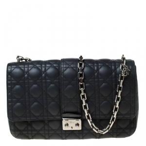 Dior Black Quilted Leather Large Miss Dior Flap Bag