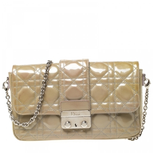 Dior Beige Cannage Patent Leather Miss Dior Promenade Pouch Bag
