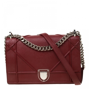 Dior Red Leather Medium Diorama Shoulder Bag