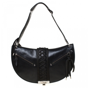 Dior Black Leather Braided Shoulder Bag