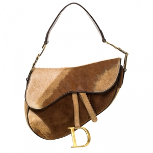 Dior Brown Fur and Nubuck Leather Limited Edition Saddle Bag