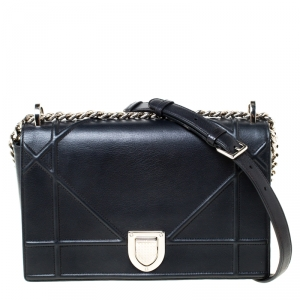 Dior Black Leather Medium Diorama Shoulder Bag