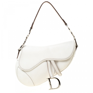 Dior White Leather Saddle Bag