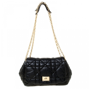 Dior Black Cannage Leather Milly La Foret Shoulder Bag