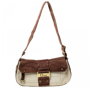Dior Brown/Beige Leather and Canvas Street Chic Shoulder Bag