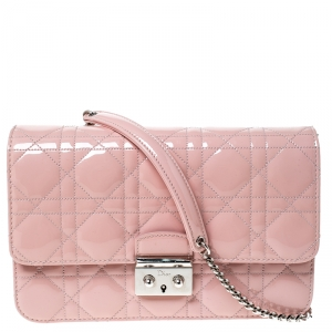 Dior Pink Cannage Patent Leather Miss Dior Promenade Pouch