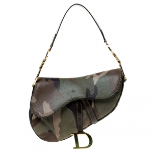 Dior Green Camouflage Print Leather Saddle Bag