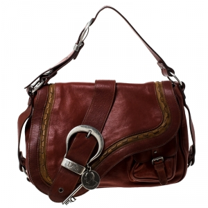 Dior Maroon Leather Double Saddle Shoulder Bag