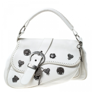 Dior White Leather Gaucho Alpine Shoulder Bag
