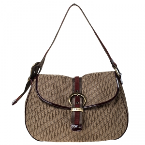 Dior Light Brown/Burgundy Diorissimo Canvas and Suede Flap Shoulder Bag