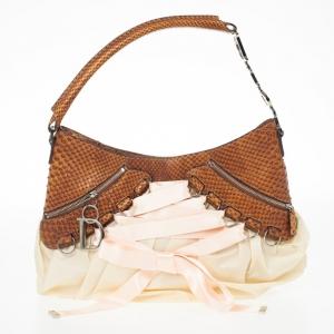 Christian Dior Cognac Pink Python Leather Corset Ballet Bag