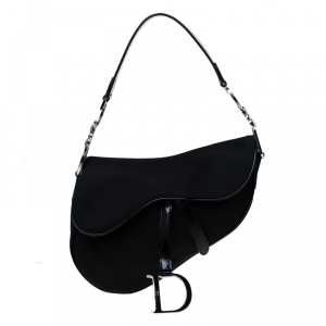 Dior Black Nylon and Patent Leather Saddle Bag
