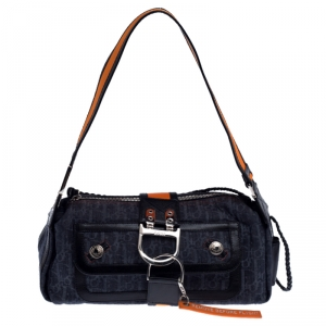 Dior Blue/Orange Oblique Denim and Leather Flight Shoulder Bag
