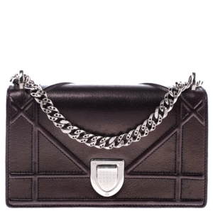 Dior Metallic Bronze Leather Mini Diorama Shoulder Bag