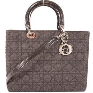 Dior Black Denim Leather Lady Dior Shoulder Bag