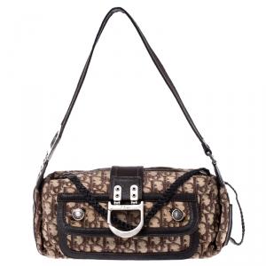 Dior Beige/Brown Oblique Canvas and Leather Flight Shoulder Bag