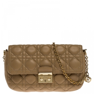 Dior Nude Beige Cannage Leather Miss Dior Small Flap Chain Bag