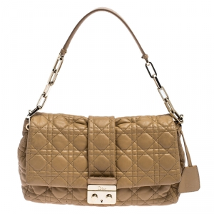 Dior Light Brown Cannage Leather New Lock Flap Bag