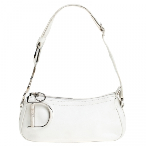 Dior White Leather Logo Charm Shoulder Bag