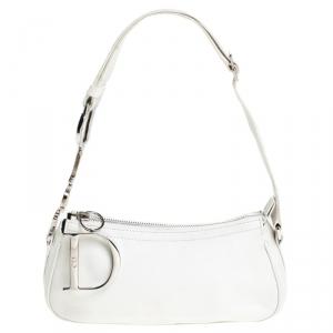 Dior White Leather Logo Charm Shoulder Bag
