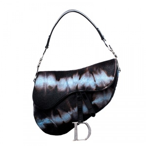 Dior Brown/Blue Pony Hair Saddle Bag