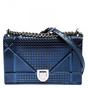 Dior Metallic Blue Micro Cannage Patent Leather Medium Diorama Shoulder Bag
