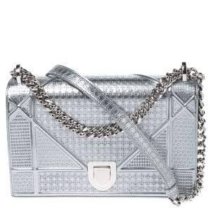 Dior Metallic Silver Patent Leather Medium Diorama Flap Shoulder Bag