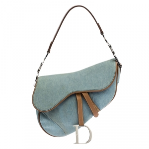 Dior Blue Denim and Leather Saddle Bag