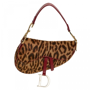 Dior Brown Leopard Pony Hair Saddle Bag