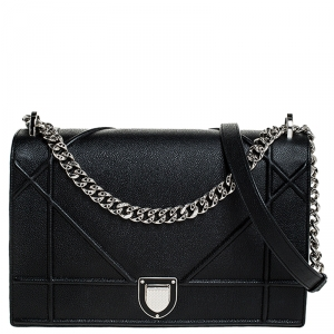 Dior Black Leather Large Diorama Flap Shoulder Bag