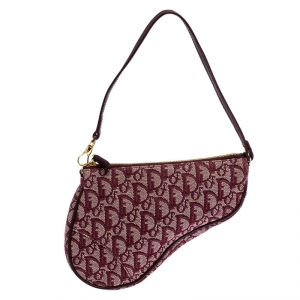 Dior Burgundy Diorissimo Canvas and Leather Saddle Bag