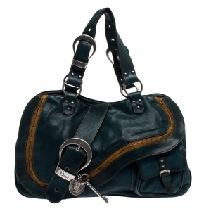 Dior Green Leather Large Gaucho Double Saddle Shoulder Bag