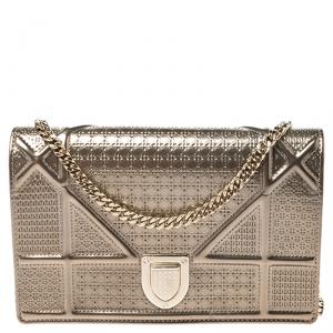 Dior Metallic Gold Micro Cannage Leather Mini Diorama Chain Shoulder Bag