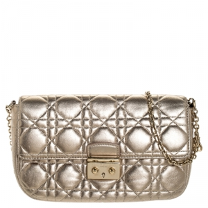 Dior Gold Cannage Leather Miss Dior Small Flap Chain Bag
