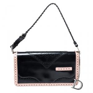 Dior Black/Pink Leather Brogue D'Trick Shoulder Bag