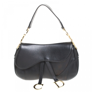 Dior Black Leather Double Saddle Shoulder Bag