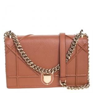 Dior Copper Brown Leather Medium Diorama Shoulder Bag