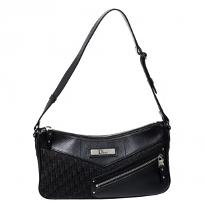 Dior Black Oblique Canvas and Leather Shoulder Bags