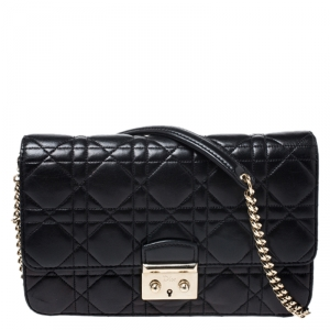 Dior Black Cannage Leather Miss Dior Promenade Chain Bag