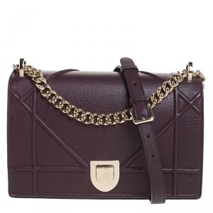 Dior Dark Burgundy Leather Medium Diorama Shoulder Bag