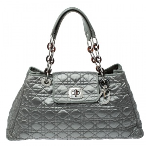 Dior Pale Green Cannage Satin Charming Lock Tote