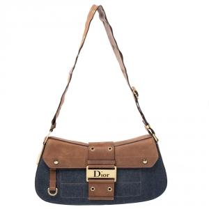 Dior Blue/Brown Denim and Leather Street Chic Shoulder Bag