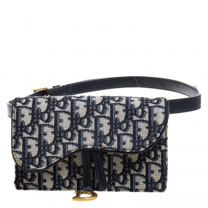 Dior Navy Blue/White Oblique Canvas and Leather Saddle Belt Bag