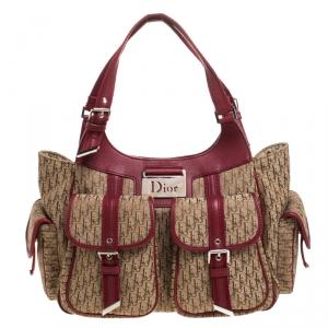 Dior Beige/Red Diorissimo Canvas Multi Pocket Shoulder Bag