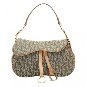 Dior Beige/Green Oblique Canvas Double Saddle Bag