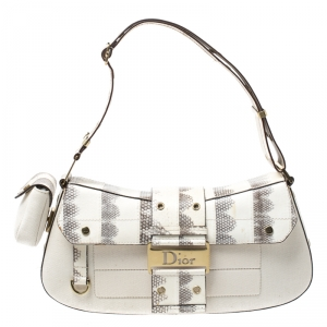 Dior Cream/Beige Fabric and Python Street Chic Columbus Avenue Shoulder Bag