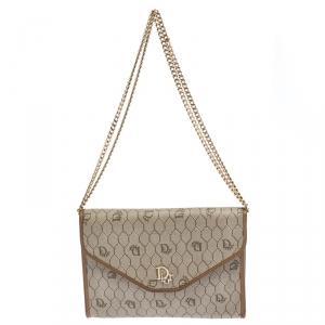 Dior Beige/Brown Honeycomb Coated Canvas Vintage Shoulder Bag