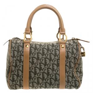 Dior Green/Beige Diorissimo Canvas and Leather Boston Bag