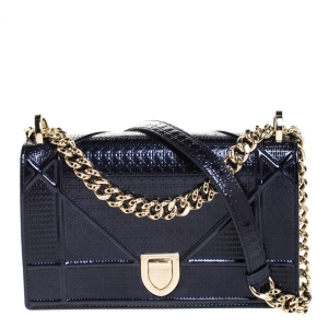 Dior Dark Blue Patent Leather Small Diorama Flap Shoulder Bag