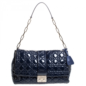 Dior Navy Blue Cannage Patent Leather New Lock Flap Bag